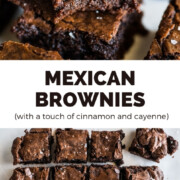 Mexican Brownies spiced with a touch of cayenne and cinnamon. Fudgy and chocolaty, all it takes are a few ingredients and less than 1 hour.
