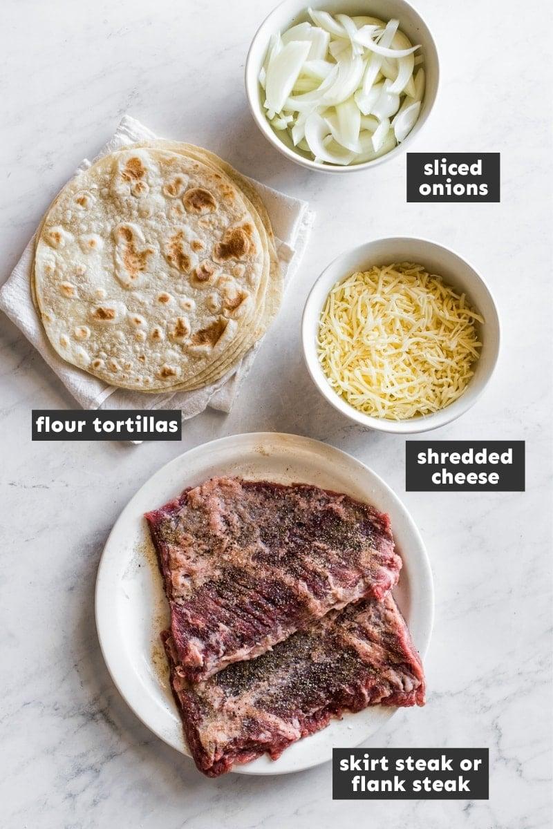 Ingredients for steak quesadillas