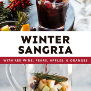 Winter Sangria is made with a blend of seasonal fruits, red wine, herbs and spices, and apple brandy. Easy to make and perfect for the holidays!