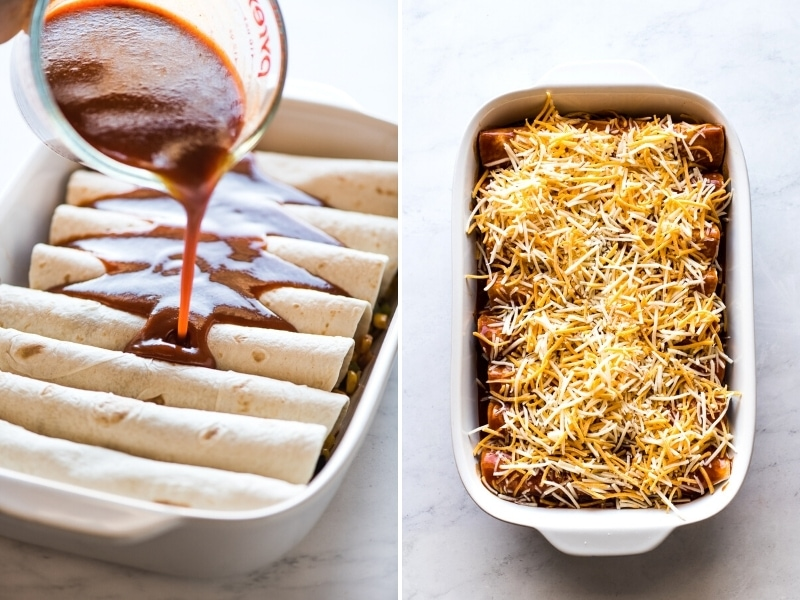Black bean enchiladas topped with red enchilada sauce and shredded cheese.