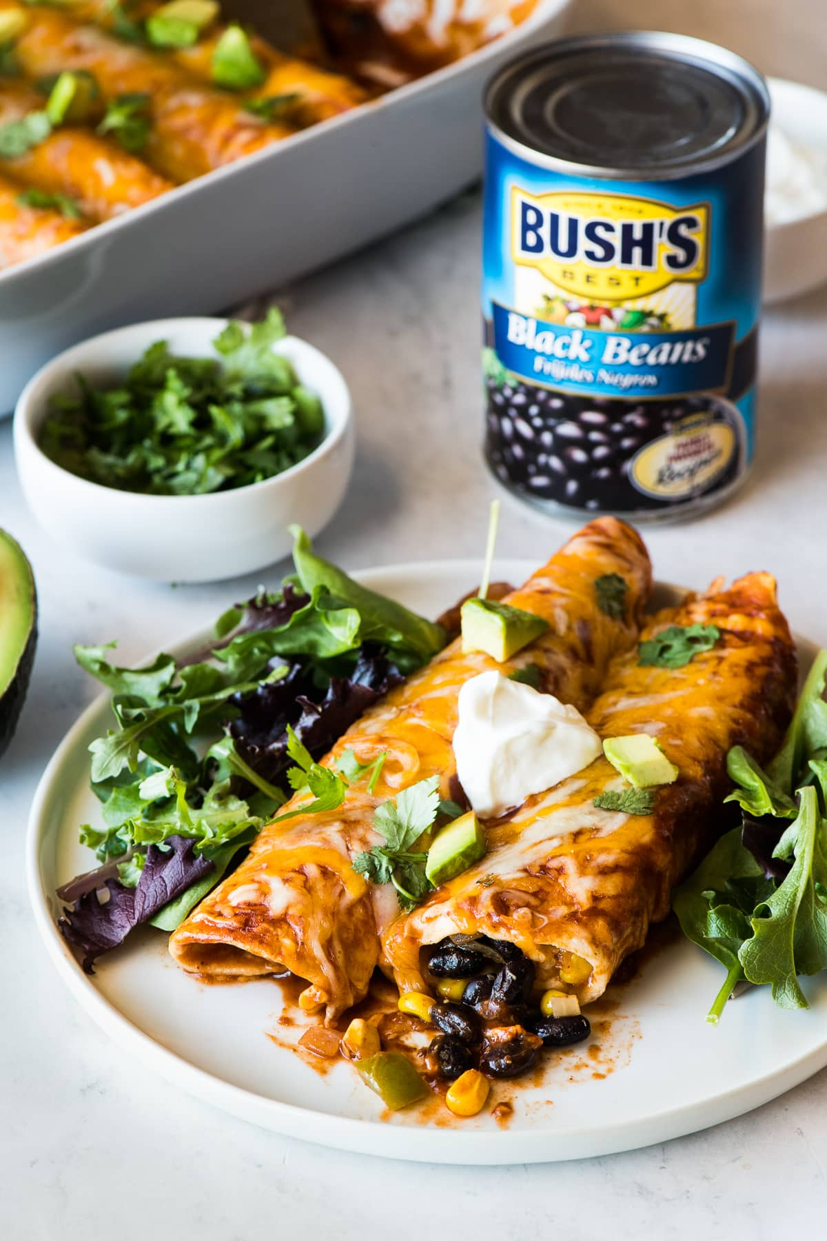 Black bean enchiladas on a plate on a bed of lettuce.