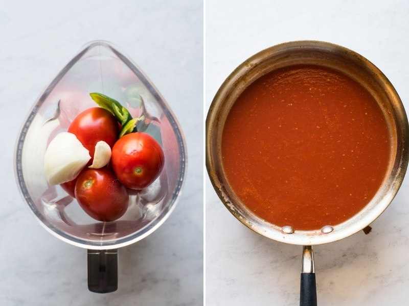 Tomato sauce mixture for entomatadas.