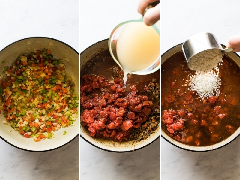 Step by step photos of how to make stuffed pepper soup.