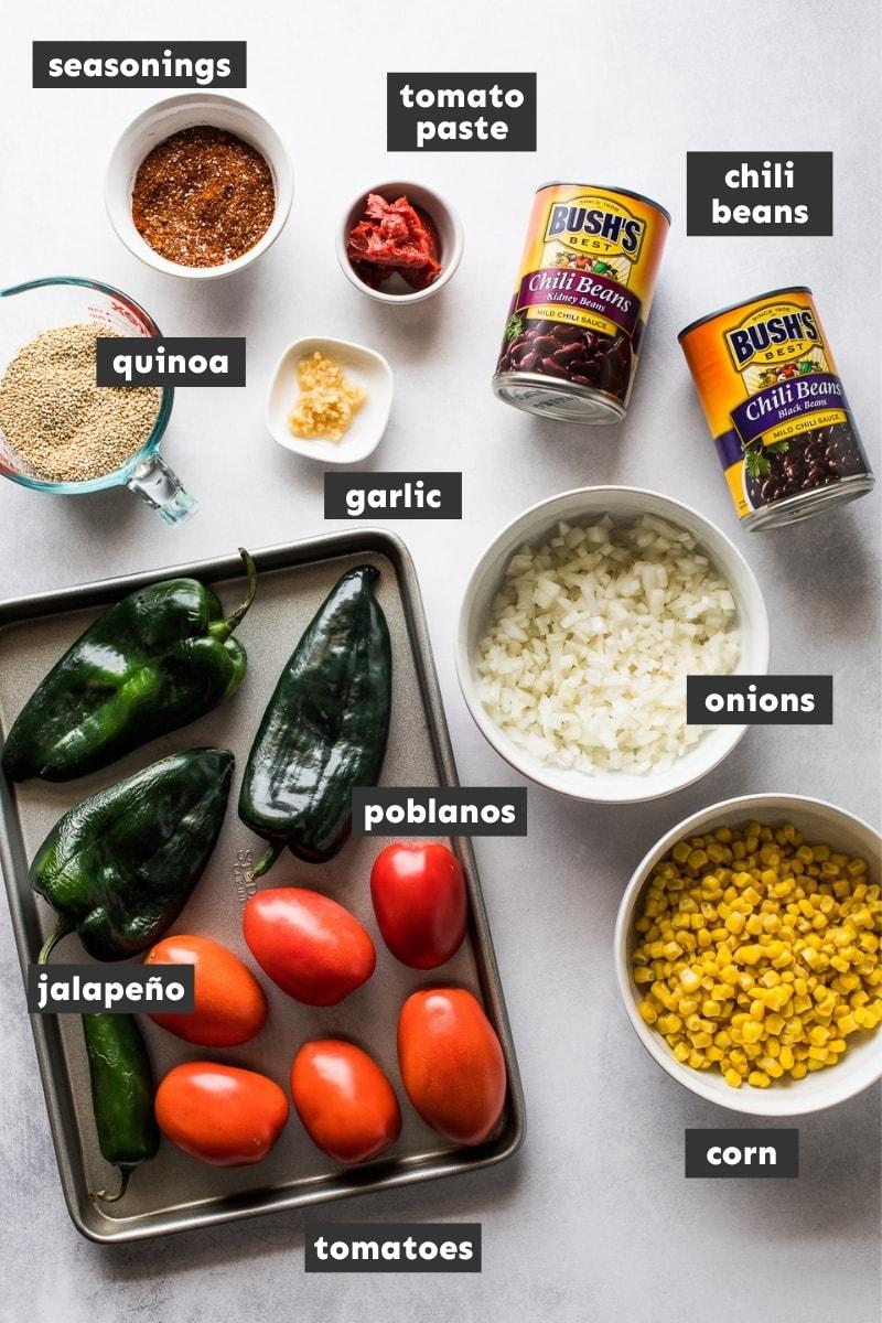 Ingredients in quinoa black bean chili