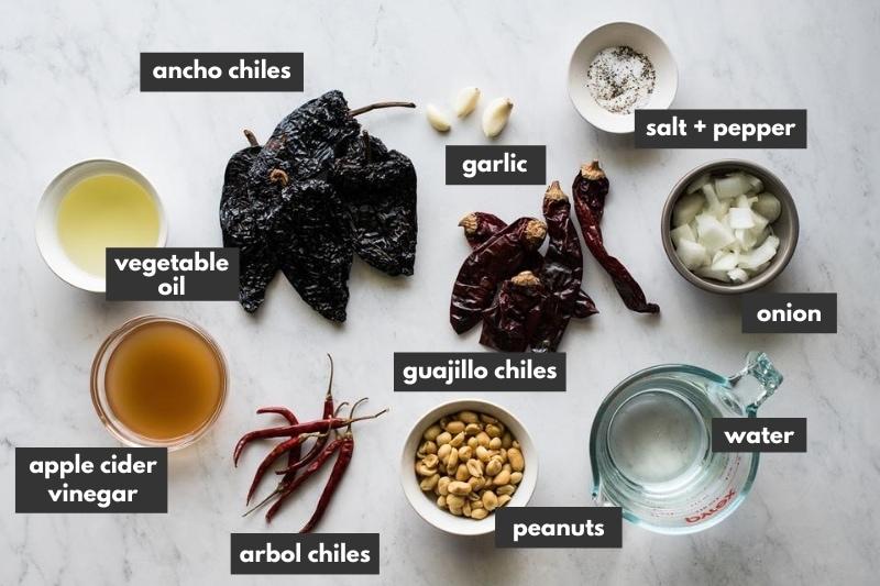Ingredients in salsa macha