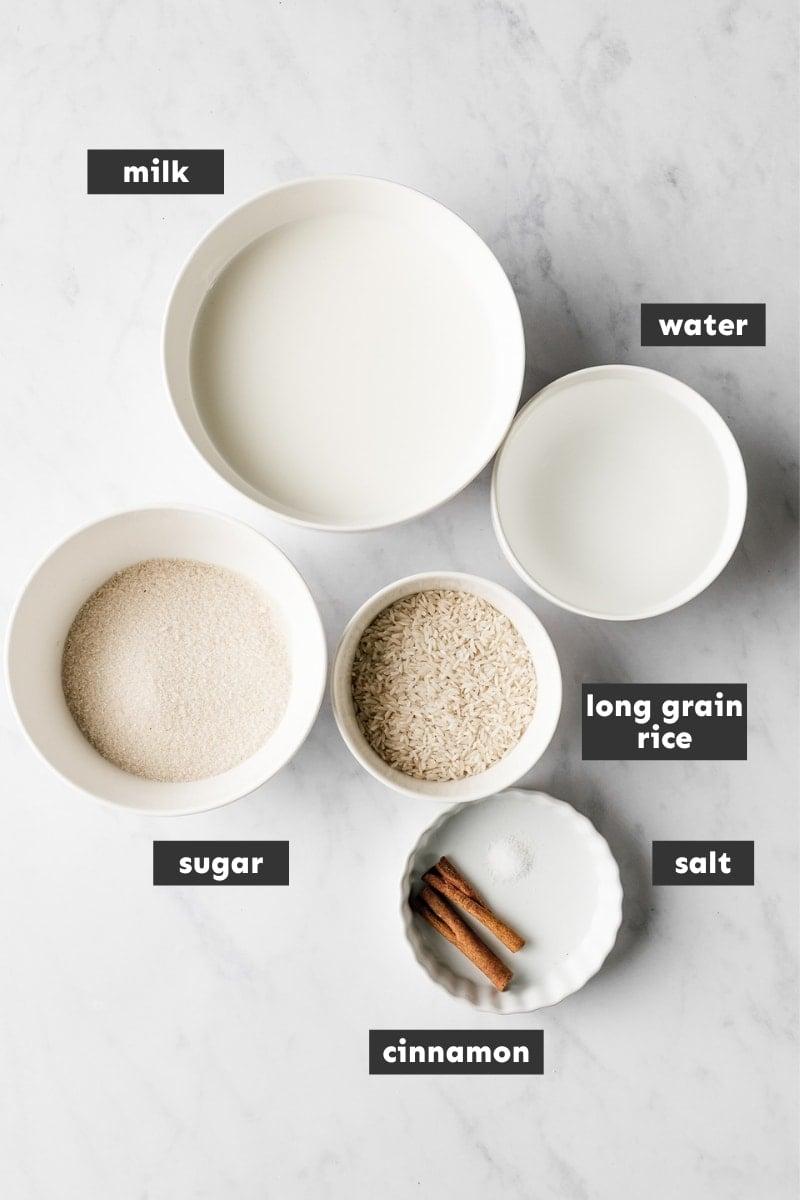 Ingredientes del arroz con leche.