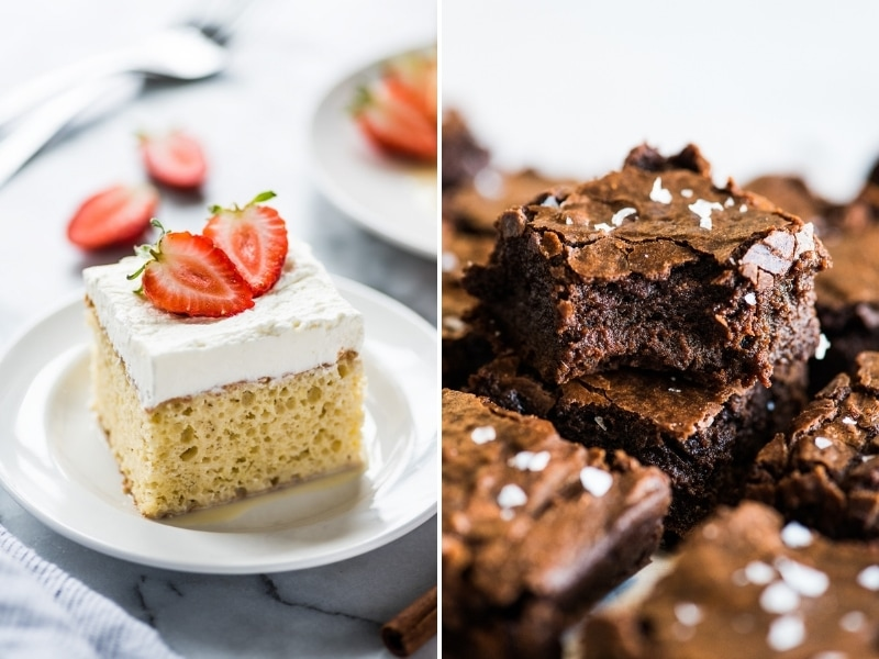 Tres Leches Cake and Mexican Brownies Mexican recipes for Cinco de Mayo.