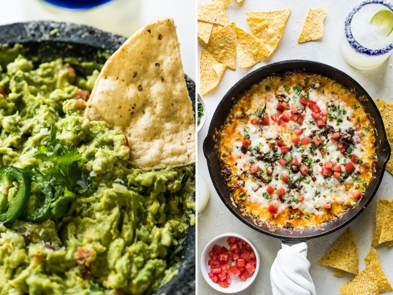 Guacamole and Queso Fundido Cinco de Mayo recipes.