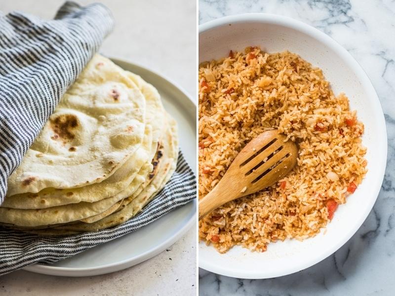 Flour tortillas and Mexican Rice recipes for Cinco de Mayo.