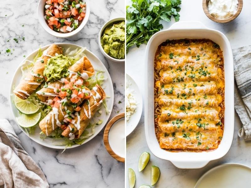 Chicken Taquitos and Chicken Enchiladas for Cinco de Mayo.