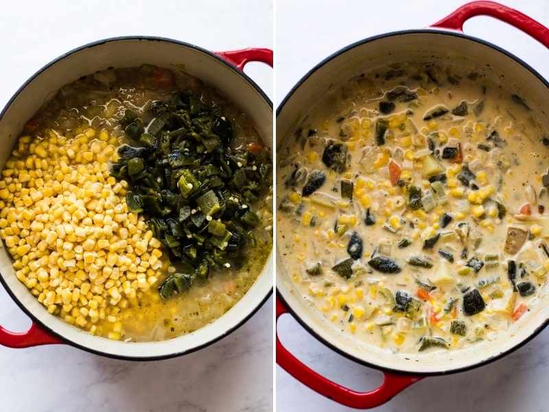 A pot filled with roasted poblano corn chowder.
