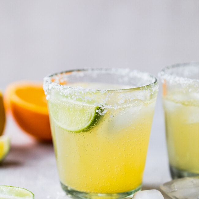 A classic non-alcoholic virgin margarita ready to be drank on a table.