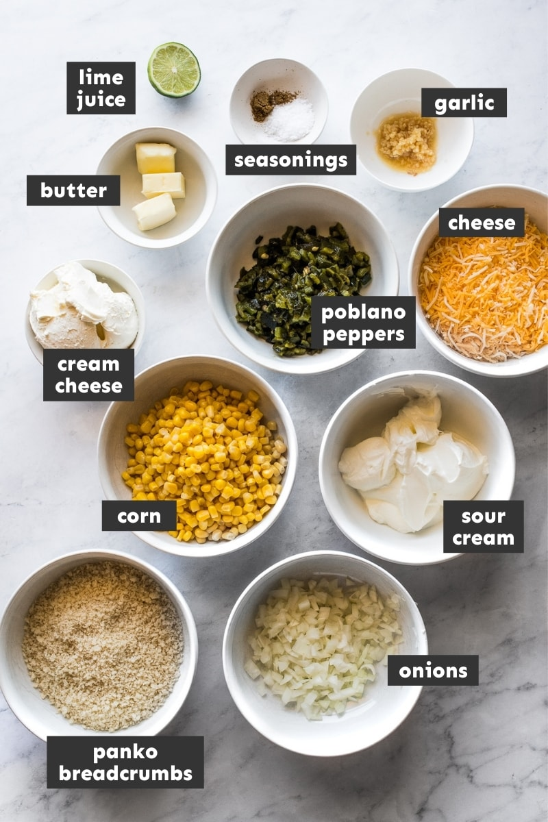 Ingredients in chile relleno dip