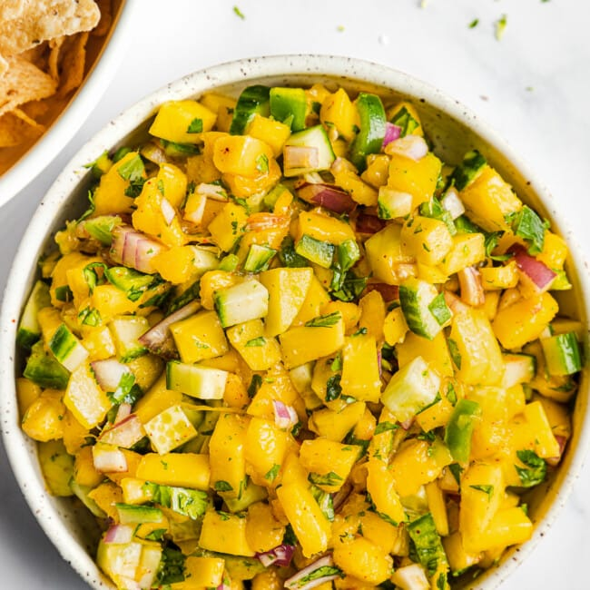 Mango salsa in a bowl ready to be eaten.