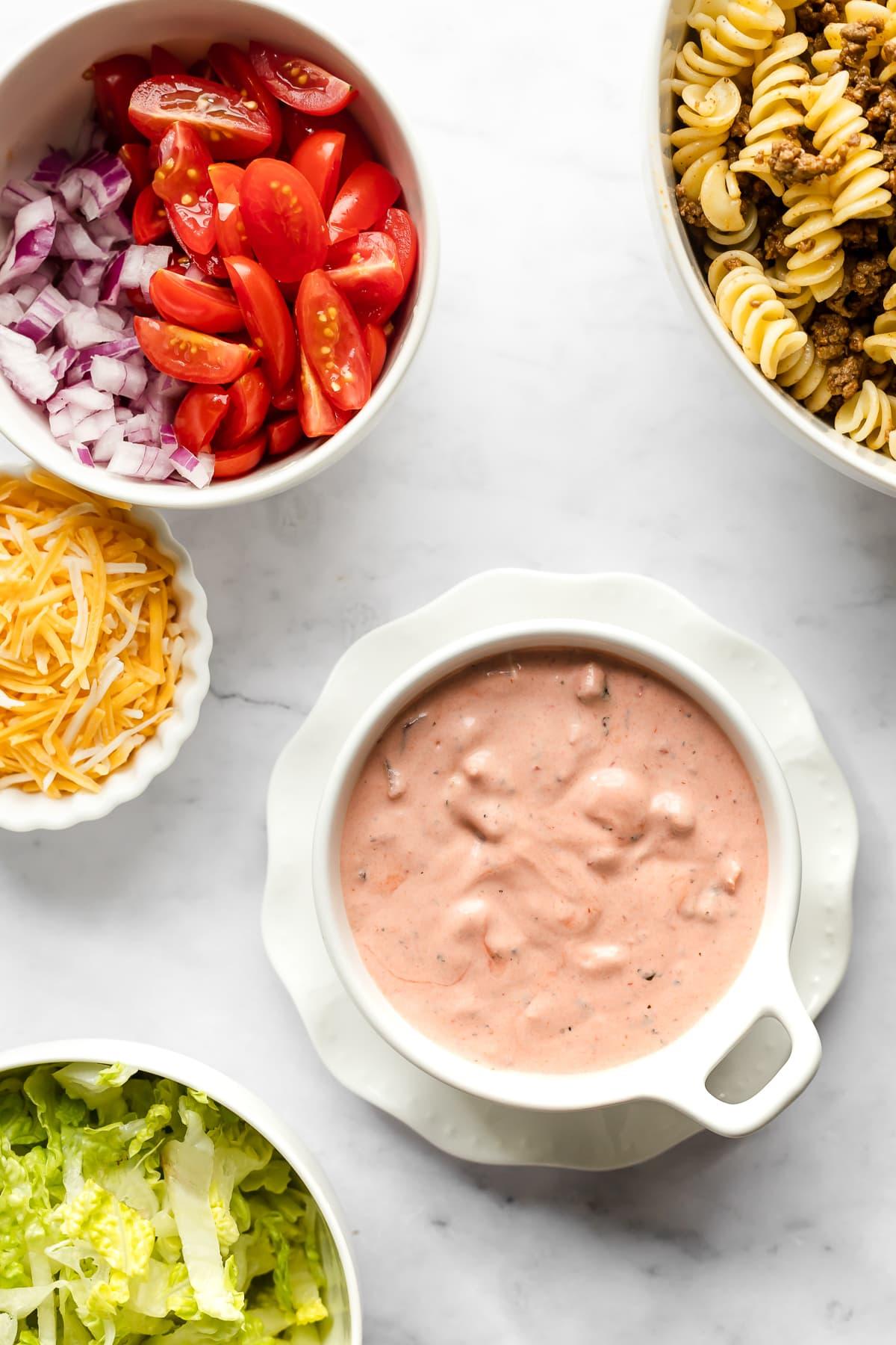Ingredients in taco pasta salad.