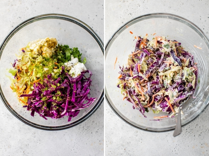 Fish taco slaw in a glass bowl being mixed and prepared.