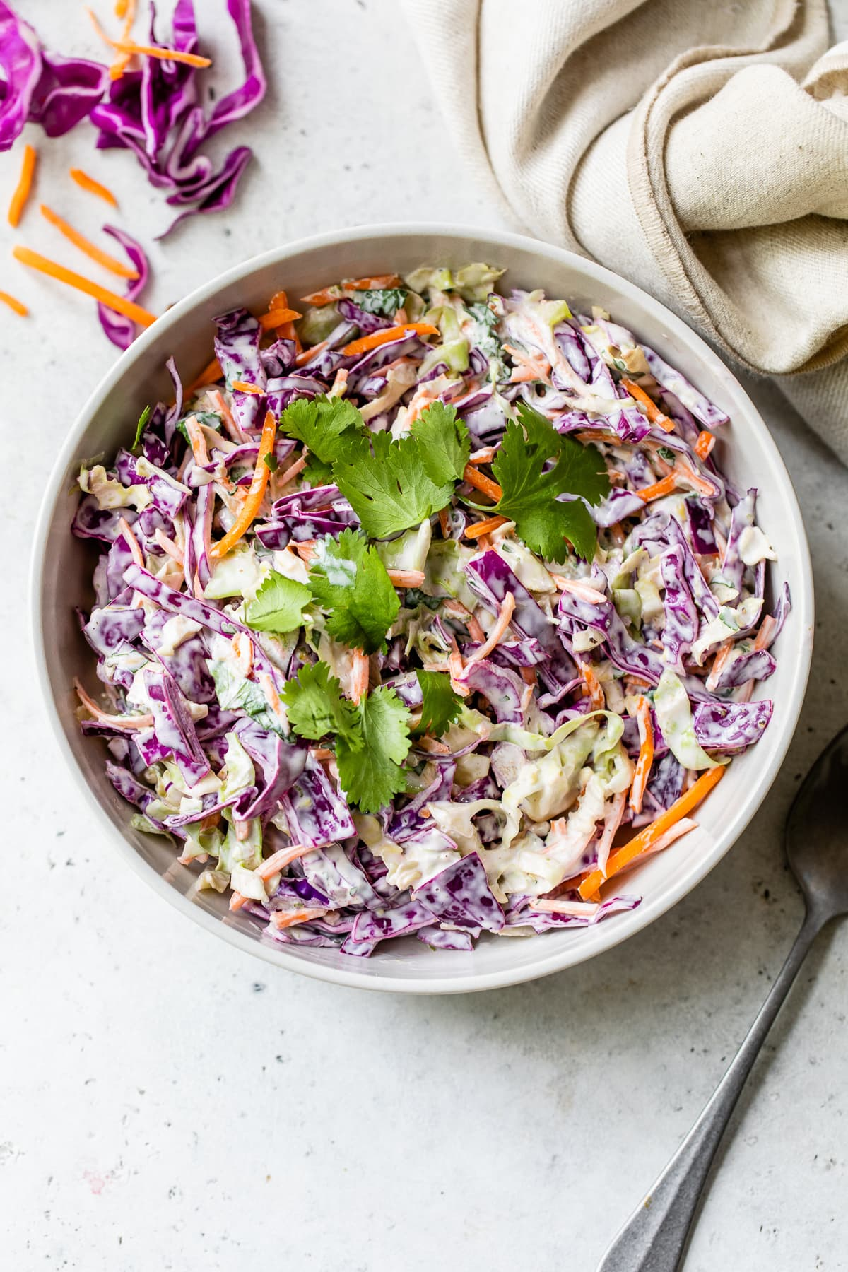 A creamy slaw in a bowl ready to be served.