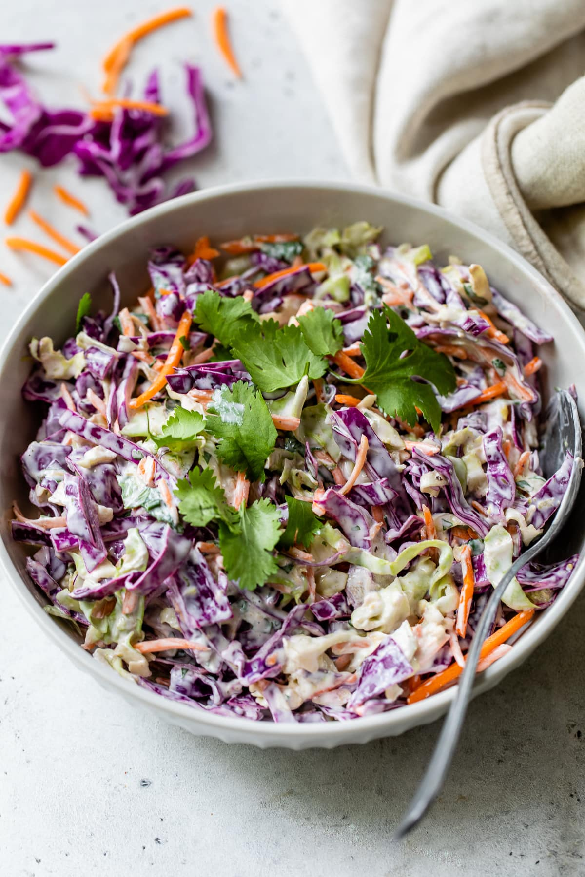 A bowl filled with fish taco slaw ready to eat.