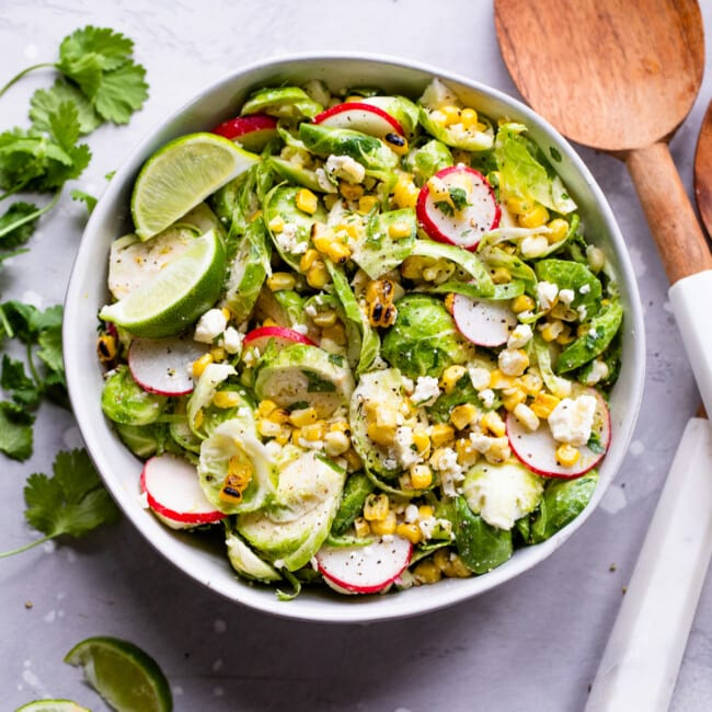 Mexican Brussels Sprout Salad in a bowl ready to serve.