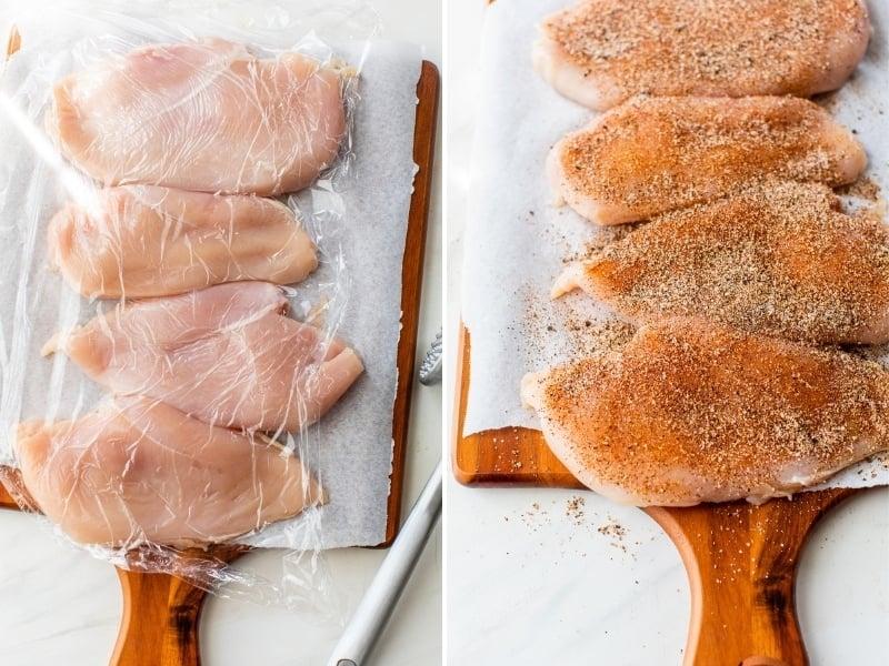 Las pechugas de pollo se ablandan y se sazonan.